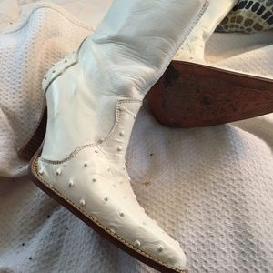 Los Altos White Ostrich Leather Handmade Boots 7